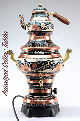 Kupfer Samovar Teekanne Set elektrisch betrieben handgefertigt echtes Kupfer Samovar