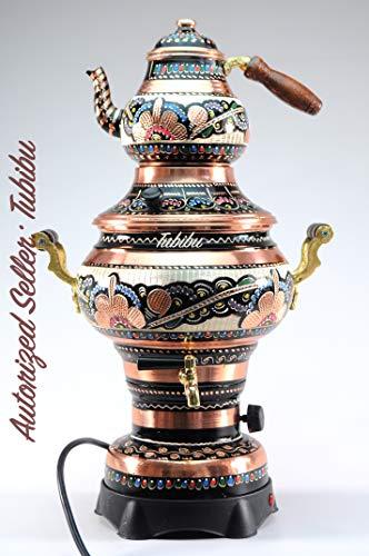 Samowar Teekannen-Set, Kupfer, elektrisch, handgefertigt, echtes Kupfer, Samowar (220 V)