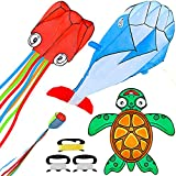 JOYIN 3 Packs Ocean Kite Set Includes Octopus Kite,Dolphin Kite and Turtle Kite, Easy to Fly Gaint Kites for Kids and Adults with Kite String, Large Beach Kite for Outdoor Games and Activities
