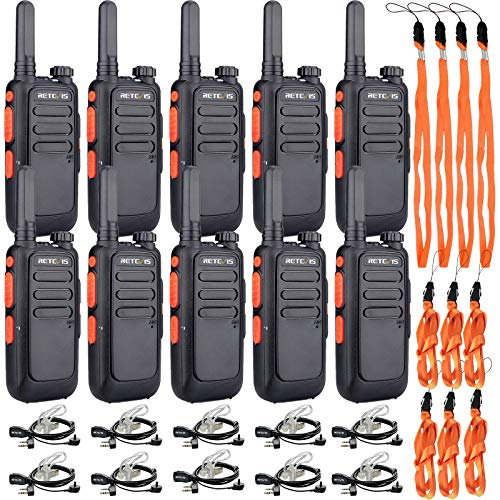 Retevis RT69 Walkie Talkies for Adults,Two Way Radios Long Range Rechargeable,Neck Lanyard Flashlight,Small 2 Way Radio with Earpieces,Commercial Healthcare Education(10 Pack)