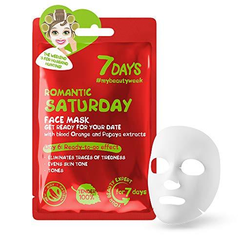 Gesichtsmaske 1 Stk Hautregeneration Tägliche Hautpflege für Frauen Orange Papaya Extrakte für jeden Hauttyp gegen Akne / Samstag 28 g | 7DAYS