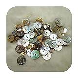 Botones de costura de 10 mm, 100 unidades, color nácar y concha redonda con 2 agujeros, 1, Size
