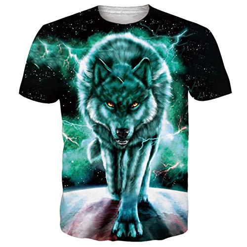 Goodstoworld Herren T-Shirt Mens Cooles 3D Grafik Muster Druck Sommer Lustig Bunte Kurzarm Rundhals T-Shirt Tee Tshirt Grün L