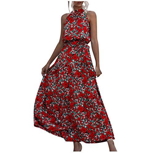 Maxi vestidos de verano para mujer, cuello redondo, halter vintage, estampado floral, sin mangas, casual, vestido midi, C-maxi Red Floral, Medium
