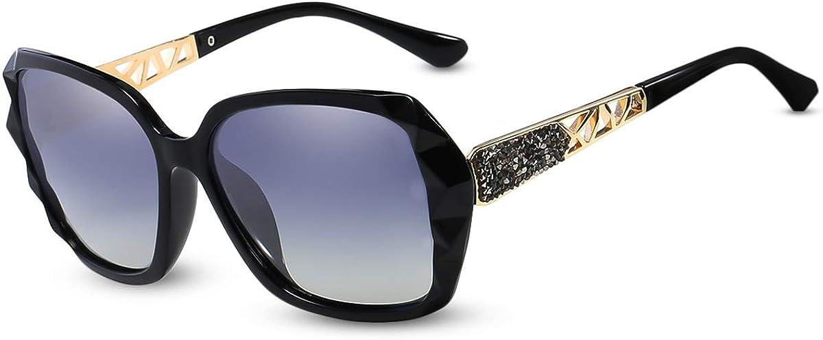 LumiSyne Gafas de sol Mujer Gradient Espejo,Gafas UV 400 Polarizadas,De gran tamaño Policarbonato Marco Diamante Cristal,Al aire libre Viajar Caja de regalo