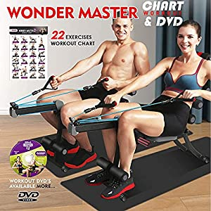 BODY RHYTHM 22 in 1 Wonder Master Core & Abdominal Workout Equipment, Foldable & Adjustable Rowing Machine, Core Strength Training& Abdominal Exercise Trainers with 22 Ways to Exercise for Home Gym.
