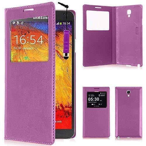 VCOMP ® Flip-Cover Case Hülle Schale Ansicht Kompatibel für Samsung Galaxy Note 3 Neo/Lite Duos 3G LTE SM-N750 SM-N7505 SM-N7502 - VIOLETT + Mini-Eingabestift