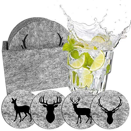 camolo Runde Premium Filz Untersetzer WILD, Glasuntersetzer Set, Untersetzer Für Gläser, Getränke, Hellgrau, 9-teilig