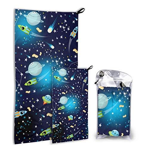 N\A Amazing Solar System Space 2 Pack Microfiber Body Towel Toallas de Playa para Adolescentes Set de Secado rápido Lo Mejor para Viajes de Gimnasio Mochilero Yoga Fitnes