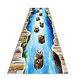 Alfombras Para Pasillos Largos- Illusion óptico 3d Estera De Alfombras Lavable Grande, área De Impresión Decorativa Alfombra Pequeño Río Río Piedra De Piedra, Ancho 60/8(Size:100×500 cm/39.4×196.9 in)