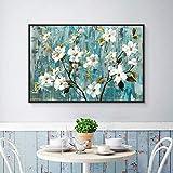 Cuadro En Lienzo Carteles de Pared de Almendro floreciente y decoración del hogar para Sala de Estar,60x80cm,Pintura sin Marco