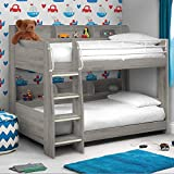 Happy Beds Domino Grey Oak Wooden and Metal Kids Bunk Bed with Storage Shelves Frame Only 3' Single 90 x 190 cm