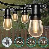 Bomcosy Guirlande Solaire Extérieure 12 LED Ampoules Plastique Étanche IP65 S14 26.4ft/ 8M Fil Eclairage Décoration Intérieur et Extérieur Maison Jardin Guirlande Guinguette Extérieur