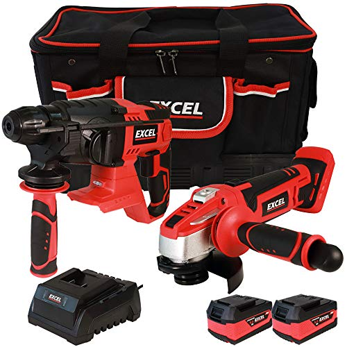 Excel 18V Power Tool Cordless Twin Pack SDS Plus Rotary Hammer and Angle Grinder with 2 x 5.0Ah Batteries & Charger in Bag EXL5101