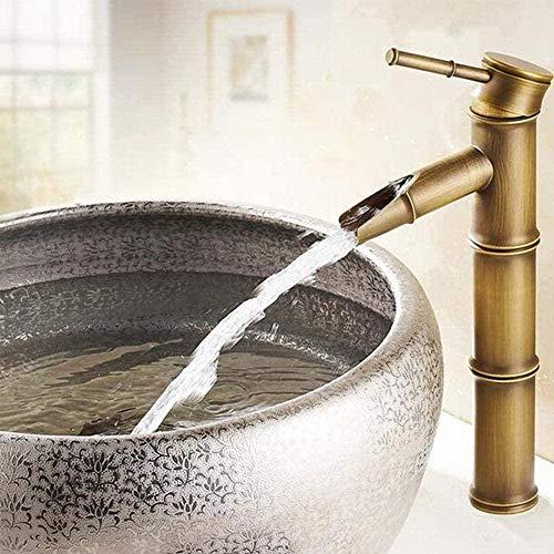 Wasserhahn Wasserhähne Antik Messing Wasserfall Waschbecken Wasserhahn Gefäß Hoch Bambus Wasserhahn Mixer Heiß und Kalt Einloch Waschtisch Wasserhahn