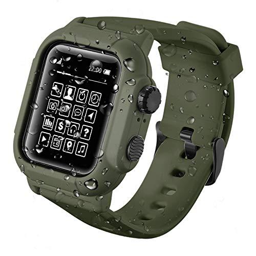 Apple Watch 42mm44mmケース バンド 一体 IP68 完全防水 落下衝撃 吸収 防塵 Apple Watch 42mm ケース バンド 一体 落下衝撃 吸収 シリコンバンド 柔らかい スポーツに向け 交換バンド 装着簡単 Apple Watch Series 4/3/2/1対応 (44MM, アーミーグリーン)
