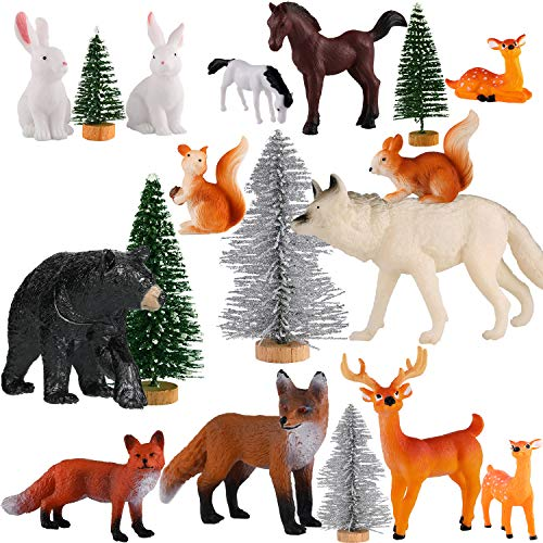18 Piece Woodland Animals Figurines Woodland Creatures Figurines Realistic Plastic Wild Forest Animals Figurines Includes 13 Piece Different Animals and 5 Piece Trees for Birthday Christmas Party