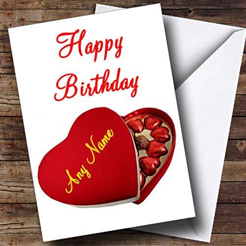Hartdoosje van chocolade Romantische gepersonaliseerde verjaardagskaart