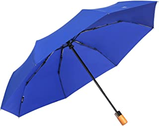 Fully Automatic Opening and Closing Folding Umbrella, Rain and Rain Umbrella, Simple Solid Color Business Umbrella, A Variety of Colors Available HYBKY (Color : Blue)