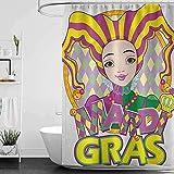 Lustiger Duschvorhang Karneval Karneval Mädchen Duschvorhang Schimmel Wasserdicht Extra Lang Badvorhang für Badezimmer mit 12 Haken