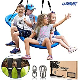 60 Inch Platform Tree Swing for Kids and Adults – Giant Flying Outdoor Indoor Saucer Hammock – Large Surf Tire Swingset Accessories Toys – 2 Straps, 2 Carabiners, 1 Swivel – 600 Lbs Yard Swings Set