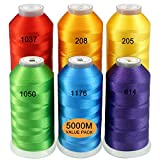New brothread Set di 6 Colori de Arcobaleno Poliestere Filo di Ricamo Macchina Grande Bobina 5000M per Tutte Le Macchine da Ricamo