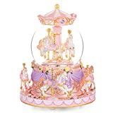 Mr.Winder Carousel Horse Snow Globe Gift - Rotating Music Box Birthday Anniversary for Wife Daughter Girl Girlfriend Husband Clockwork Musical 8-Horse Color Light Snowglobes Castle in The Sky