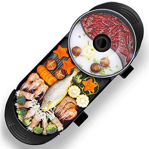 Doppelfunktionaler Grilltopf Home multifunktionaler Grilltopf ein Topf elektrischer heißer Topf fettarmes gesundes Grillen Grillpfanne-Europäische Spezifikation
