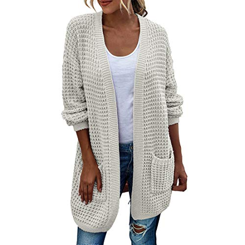 Women Cardigan Long Knit Solid Color Elegant Casual Oversize Long-Sleeve Autumn and Winter Ladies Cardigan Coarse Knit Fashion Loose Women Coat White_ M