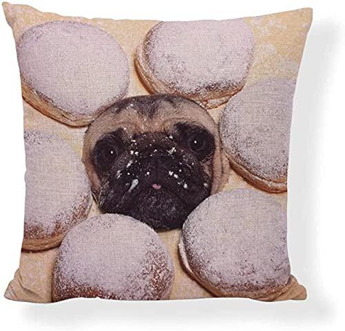 ADIS Poszewka na poduszkę ciasteczka bułki hamburgery frytki pączki pizza obraz z miłością buldog francuski dekoracja dom kanapa poszewki na poduszki - 45 x 45 cm_6-2_45 x 45 cm