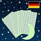 Glow in The Dark Stars Paquete de 909, Set con Adhesive Stars, Moon y Free Constellation Guide, 3 tamaños, Verde, Glow In The Dark Stickers, Glow Stars Supernova
