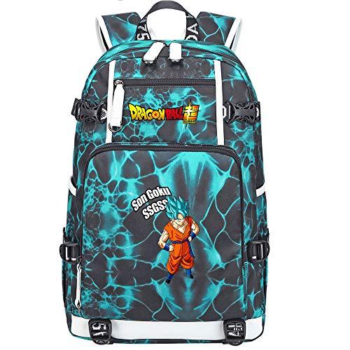 ZZGOO-LL Dragon Ball Son Goku/Vegeta IV/Torankusu Mochila de Anime Mochila de Escuela Secundaria para Estudiantes para Mujeres/Hombres con USB-G