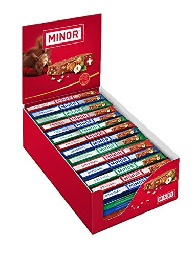 Schweizer Schokolade | MINOR Classic Stengel | 70 Schokoladenriegel á 22g im Thekendisplay | 1,54kg Großpackung | Nougat / Gianduja | Maestrani Milchschokolade | Glutenfrei | Ohne Palmfett