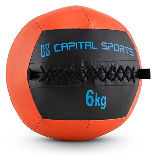 Capital Sports Wallba 6 Palla Medica Wall Ball 6 kg in Similpelle Arancione