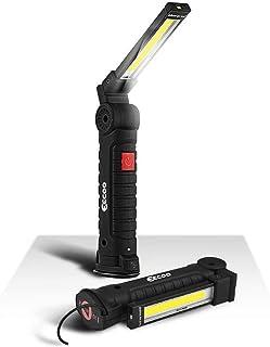 Linterna Taller LED Recargable 1800mAh, Linterna de Trabajo 5 Modos 800 Lúmenes, Lámpara de Inspección con Base Magnética y Gancho para Emergencia, Taller, Automóviles (Grande)