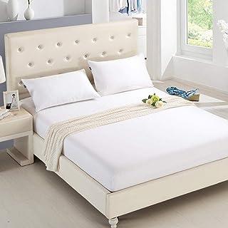 CTOBB Drap Housse Matelas Housse de Couleur Unie ponçage literie draps de lit avec Bande élastique Double Queen Size 180X2...