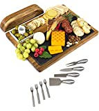 Zelancio Slate Cheese Board Set - 12-Piece Charcuterie Set Includes 4 Stainless Steel Cheese Knives, Bigger Acacia Serving Tray with Slate Board, and Wood Tool Holder