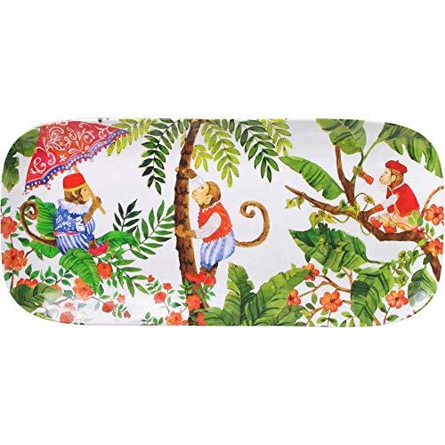 Les Jardins de la Comtesse - Plat à Cakes Rectangulaire en Mélamine Pure - Singes de Bali - 37,5 cm - Rouge corail/Vert - Plat Long de Service de la Collection de Vaisselle Quasi-Incassable MelARTmine