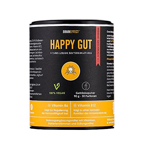 BRAINEFFECT HAPPY GUT- Fruchtiges Getränkepulver für ein gutes Darmgefühl als Mittel gegen Blähbauch mit Propionsäure, Pulver Darmbakterien, Alternative geeignet zu Darmkur Kapseln - 30 Portionen