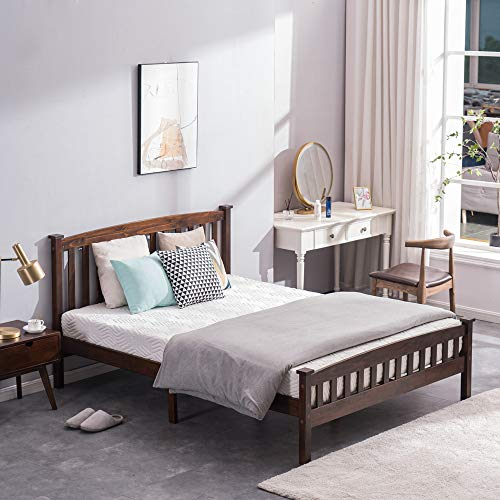 Wood Platform Bed with Headboard, Bed Frame with Wooden Vertical Strip Slat Support, No Box Spring Needed, Under Bed Storage (Queen, Walnut)