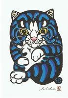 ねこの引出し 木版画家二川英一ポストカード 「まるすけ」