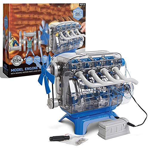 DIY Toy Model Engine Kit, Mechanic Four Cycle Internal Combustion Assembly Construction, Comes W/Valves, Cylinders, Hardware, Encourages STEM Creativity And Critical Thinking