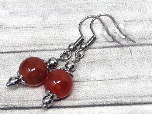 Pendientes de mujer en acero inoxidable y perlas de cornalina rojas
