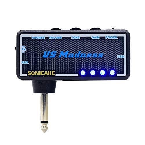 SONICAKE US Madness Plug-in USB Amplificatore portatile per cuffie ricaricabile per chitarra e basso, da camera, per cuffie, ricaricabile, con effetti