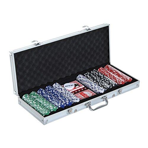 homcom Set Poker Professionale con 500 Fiches di Colori Diversi, Valigetta in Alluminio, 5 Dadi e 2 Mazzi di Carte