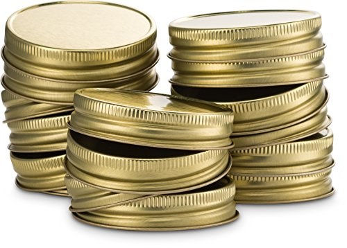 Mason Jar Lids, by Kook, Regular Mouth, Continuous Thread, Set of 16, Gold