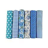 Janly Clearance Sale 6 pañuelos de algodón con estampado floral rojo para el hogar y el jardín (azul)