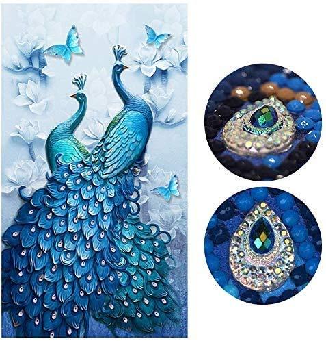 VieVogue 5d Diamant Schilderij Kits Volledige Boor Grote Blauwe Pauw Dier Magnolia Bloem Ronde Volledige Diamant Mozaïek Tekening Borduurwerk Cross Stitch Home Decoratie (100 * 60CM)