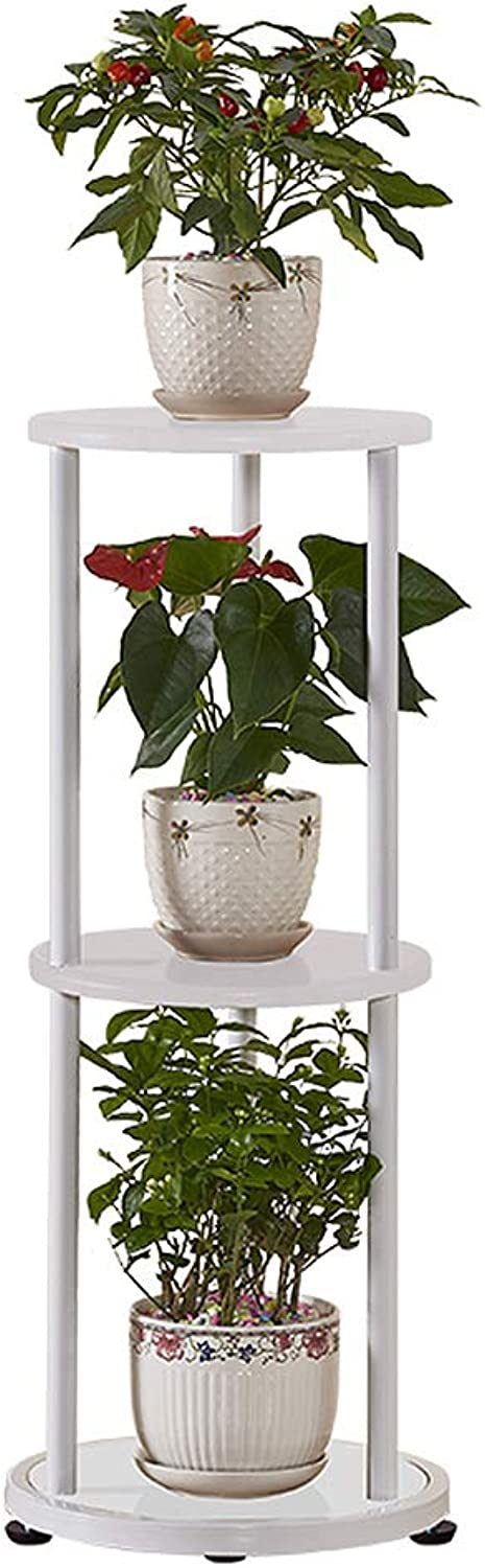 3 Tier Plant Stand Iron and Wood, Indoor Decorative Flower Stand, Flower Shelf Multi-Storey, Save Space (color   White)