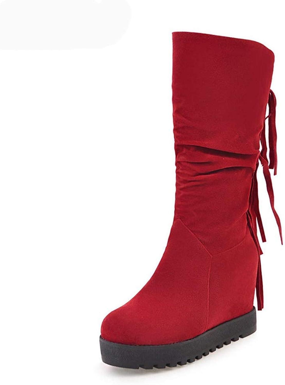 ASO-SLING Women's Wedge Boots Fashion Tassel Mid Calf Boots Platform Increasing Heels Snow Booties